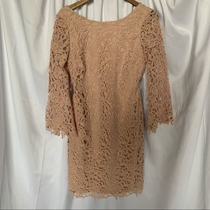 Lord & Taylor Pink Lace Long Bell Sleeved Dress